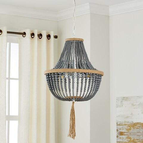 "Safavieh Lighting 16.5-inch Lush Kristi 3-light Grey Beaded Pendant - 16.5"" x 16.5"" x 29.75- 111.75"""