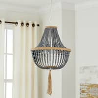 Safavieh Lighting Lush Kristi Grey Metal Glass 16.5-inch 3-light Beaded Pendant