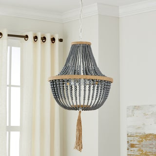 Safavieh Lighting 16.5-inch Lush Kristi 3-light Grey Beaded Pendant