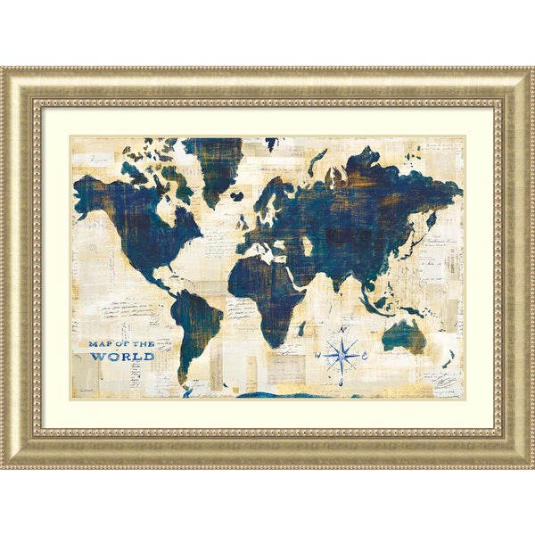 Framed art print world map collage by sue schlabach 49 x 37 inch framed art print x27world map collagex27 by sue schlabach gumiabroncs