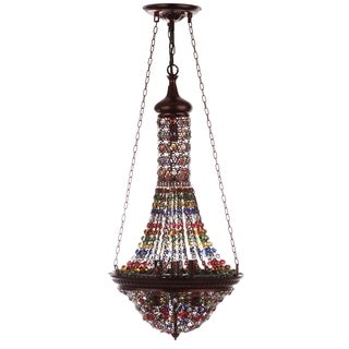 Safavieh Morrocon Gentle 15.25-Inch Dia Bronze Colorful Beaded Pendant Lamp