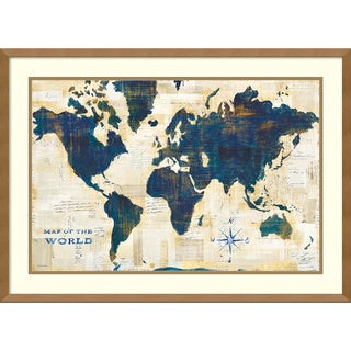 Framed Art Print 'World Map Collage' by Sue Schlabach 29 x 21-inch