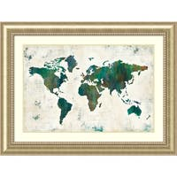 Framed Art Print 'Discover the World (Map)' by Melissa Averinos 49 x 37-inch