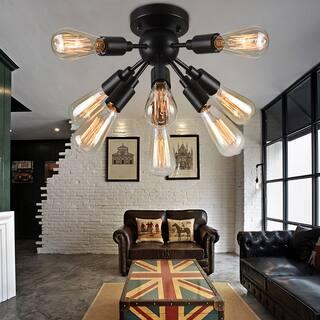 ceiling lights living room. Juvan Antique Bronze Edison Bulbs 8 light Ceiling Light Semi Flush Mounts Mount Lighting For Less  Overstock com