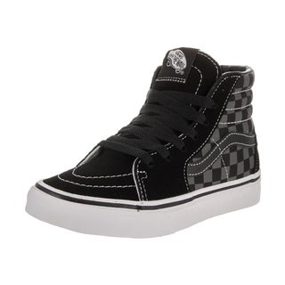 Vans Kids Sk8-Hi (Checkerboard) Black Suede Skate Shoes
