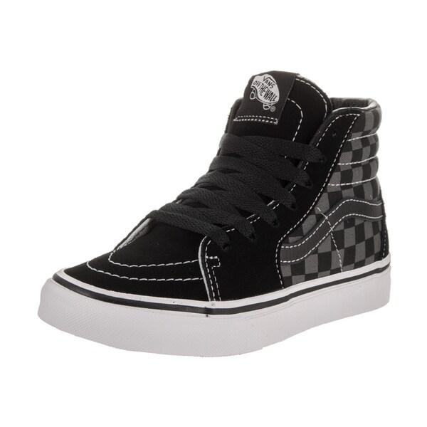 Shop Vans Kids Sk8-Hi (Checkerboard) Black Suede Skate Shoes - Free ... d52119fe5