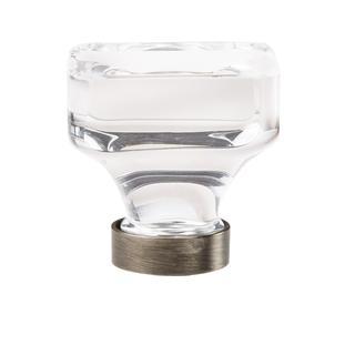 Glacio Clear/Gunmetal 1.375-in. (35mm) Diameter Square Cabinet Knob