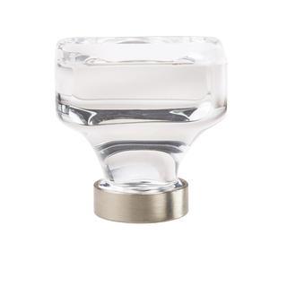 Glacio Clear Crystal/Satin Nickel 1.375-in. (35mm) Diameter Square Cabinet Knob