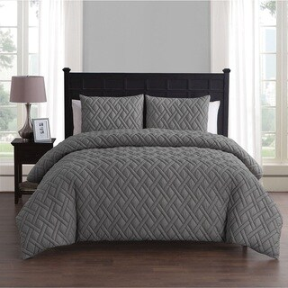 VCNY Lattice Embossed 2 & 3 Piece King Size Duvet Set in White (As Is Item)