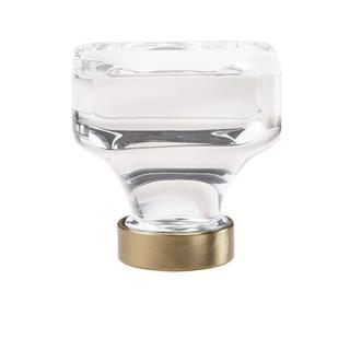 Amerock Glacio Clear Crystal and Golden Champagne 1 3/8-inch (35-millimeter) Square Cabinet Knob