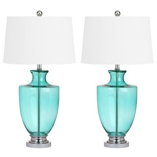 safavieh desiree 30inch h glass green table lamp set of 2