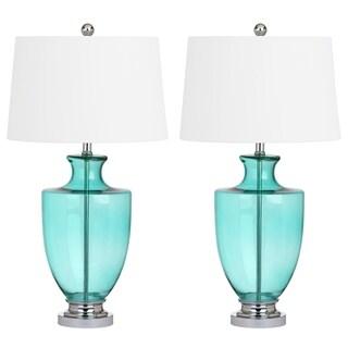 Safavieh Lighting 30-inch Desiree Glass Seafoam Green Table Lamp (Set of 2)