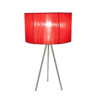 Simple Designs Brushed Nickel Tripod Table Lamp with Pleated Silk Sheer Shade, Red