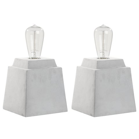 Safavieh Lighting 11.75-inch Opal Concrete Grey Table Lamp (Set of 2)
