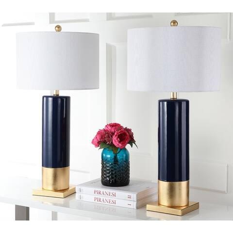 Safavieh Lighting 31-inch Dolce Navy/ Gold Table Lamp (Set of 2)