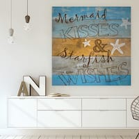 'Woodgrain Mermaid Kisses' Premium Gallery-wrapped Canvas (4 Sizes Available)