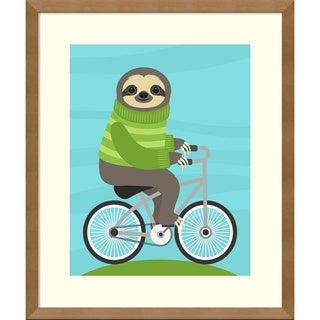 Framed Art Print 'Cycling Sloth' by Nancy Lee 16 x 19-inch