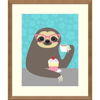 Framed Art Print 'Diva Sloth' by Nancy Lee 16 x 19-inch