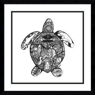 Framed Art Print 'Goodbye Sea Turtle' by Liz Ash 21 x 21-inch