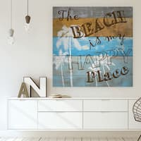 'Woodgrain Happy Place' Premium Gallery Wrapped Canvas (4 Sizes Available)