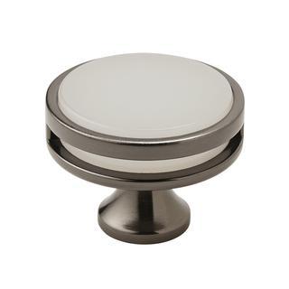 Amerock Oberon Gunmetal/Frosted Acrylic 1.75-inch Diameter Cabinet Knob