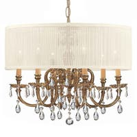 Crystorama Brentwood Collection 6-light Olde Brass/Golden Teak Crystal Chandelier