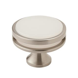 Amerock Oberon Satin Nickel and Frosted Acrylic 1 3/4-inch (44-millimeter) Diameter Cabinet Knob