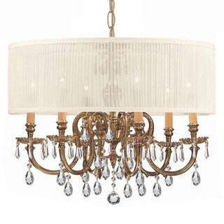 Crystorama Brentwood Collection 6-light Olde Brass/Swarovski Strass Crystal Chandelier