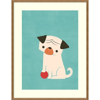 Framed Art Print 'My Red Ball (Pug)' by Jay Fleck 27 x 35-inch