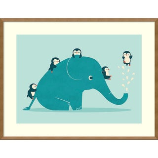 Framed Art Print 'Waterslide (Penguins)' by Jay Fleck 35 x 27-inch
