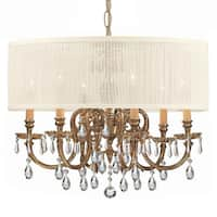 Brentwood Collection 6-light Olde Brass/Crystal Chandelier