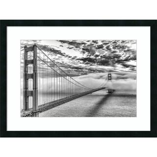 Framed Art Print 'Evening Commute BW (Golden Gate)' by Dave Gordon 32 x 24-inch