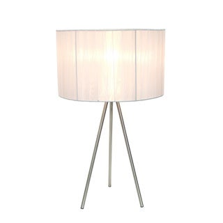 Simple Designs Brushed Nickel Tripod Table Lamp with Pleated Silk Sheer Shade, White