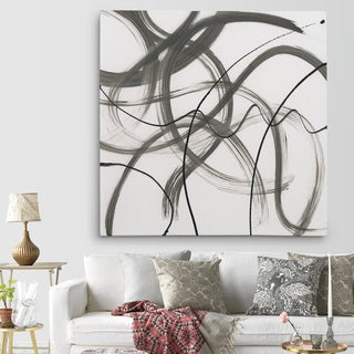 'Dancing In The Wind II' Canvas Premium Gallery-wrapped Wall Art - White/Grey