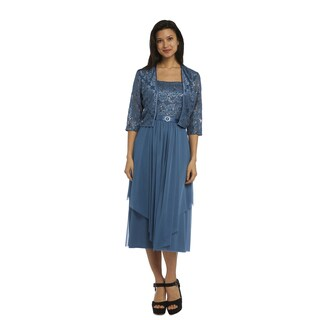 R M Richards Women's Blue Jacket Dress