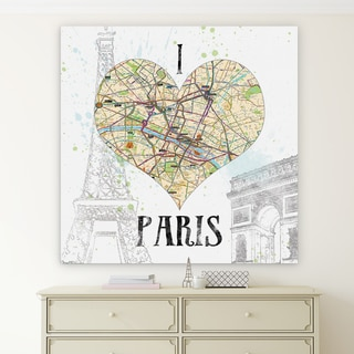 Wexford Home 'I Love Paris Map' Premium Gallery Wrapped Canvas