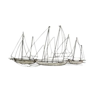 Stratton Home Decor Antique Silver Metal Grand Sailboat Wall Decor