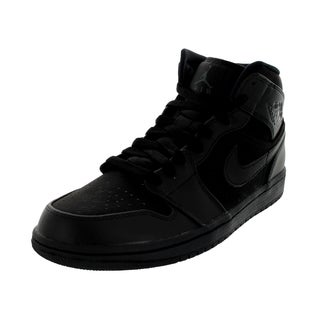 Nike Men's Jordan 1 Black Leather Mid Basketball Shoe