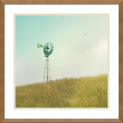 Framed Art Print 'Farm Morning IV Square (Windmill)' by Sue Schlabach 21 x 21-inch