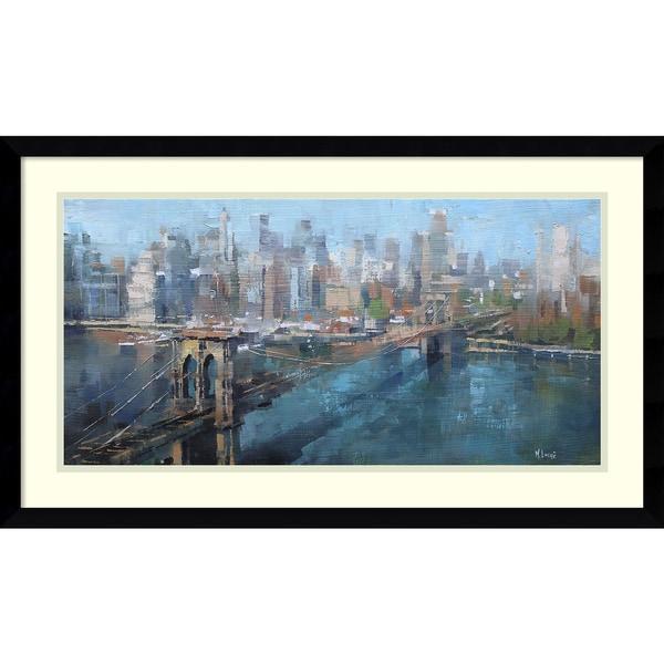 Framed Art Print 'Brooklyn Bridge' by Mark Lague 29 x 17-inch