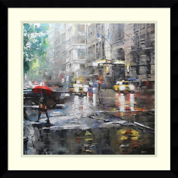 816141026 Shop Framed Art Print 'Manhattan Red Umbrella' by Mark Lague 21 x 21 ...