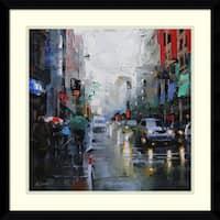 Framed Art Print 'St. Catherine Street Rain' by Mark Lague 21 x 21-inch