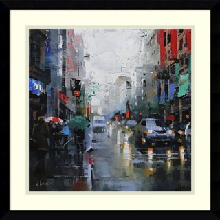 Framed Art Print 'St. Catherine Street Rain' by Mark Lague 21 x 21-inch