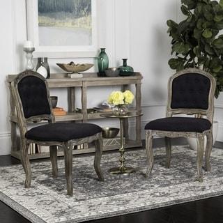 "Safavieh Eloise 20""H Black / Rustic Oak French Leg Dining Chair (Set of 2)"