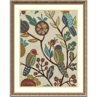 Framed Art Print 'Berry Branch II (Bird)' by Chariklia Zarris 24 x 30-inch