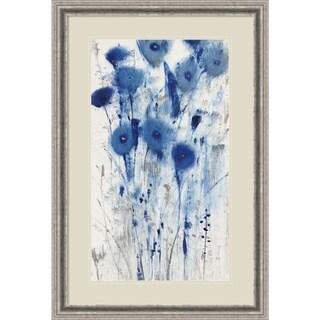 Framed Art Print 'Blue Impressions II (Floral)' by Tim O'Toole 25 x 37-inch