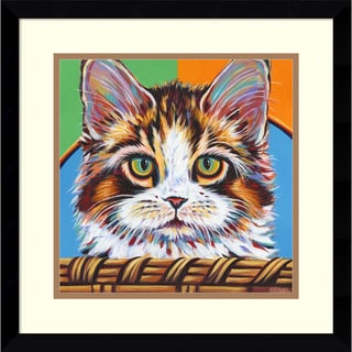 Framed Art Print 'Kitten in Basket II' by Carolee Vitaletti 17 x 17-inch