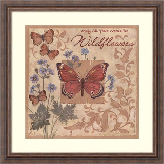Framed Art Print 'Butterflies and Flowers' by Anita Phillips 23 x 23-inch