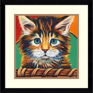Framed Art Print 'Kitten in Basket I' by Carolee Vitaletti 17 x 17-inch