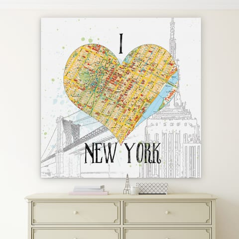 'I Love NY Map' Premium Gallery Wrapped Canvas (4 Sizes Available)